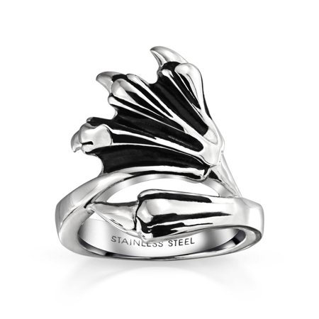 Mens Biker Gothic Dragon Loin Claw Ring For Men Oxidized Silver Tone Stainless Steel (Dragon Claw Ring)