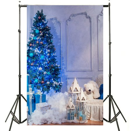 NK HOME 7 x 5 FT Christmas Tree Photography Backdrop with Gift Deer Fireplace and Stars Vinyl Christmas Photography Backdrop Warm Home Party Decoration Studio Background 20+ Colors - Palm Tree Decorations For Party