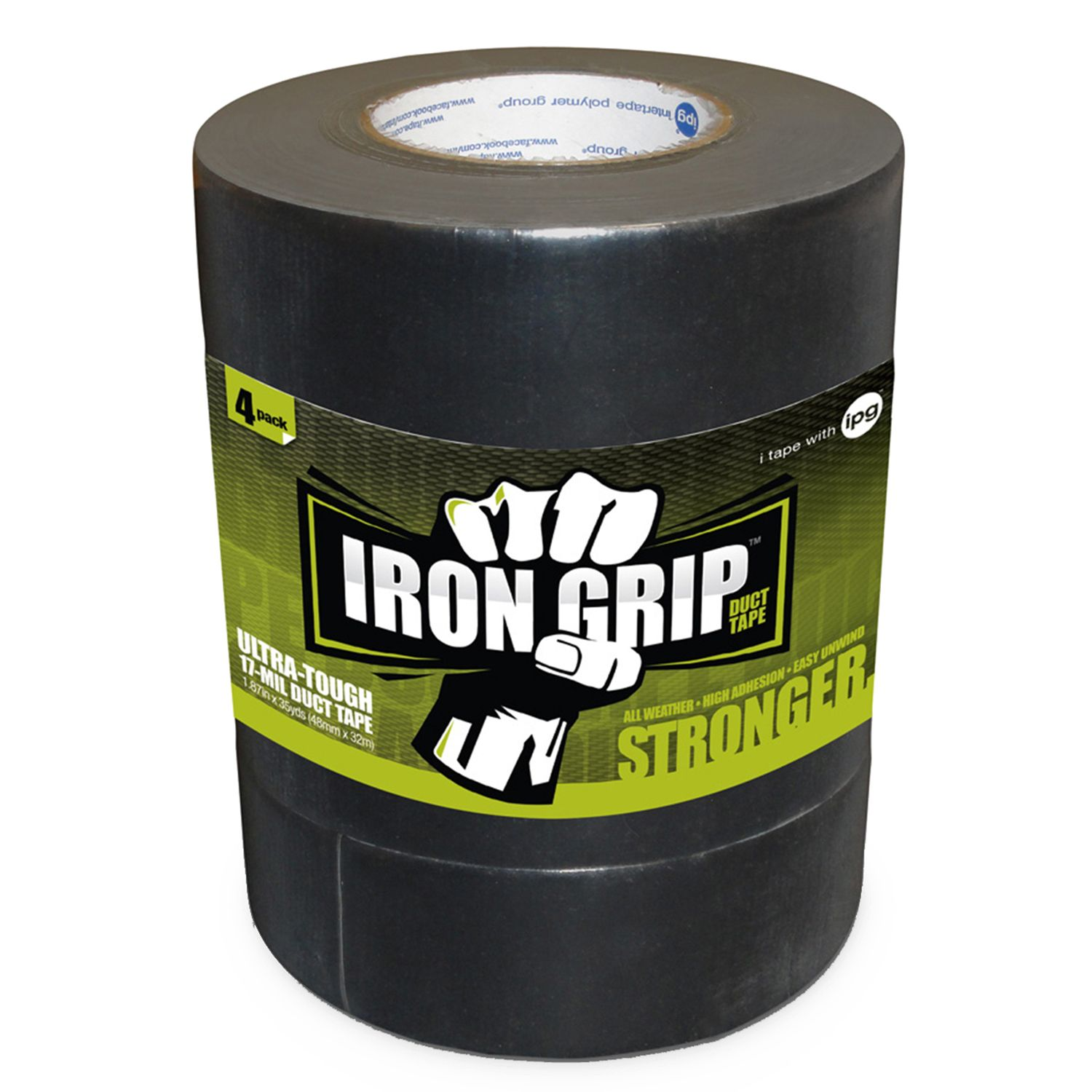 Iron Grip Duct Tape, Black, 4 Pk
