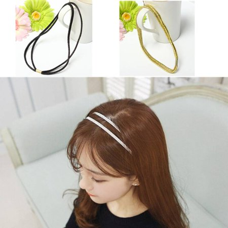 Double Strand Tinsel Shiny Elastic Ties Headband Hair Accessories Band Stretch,black color