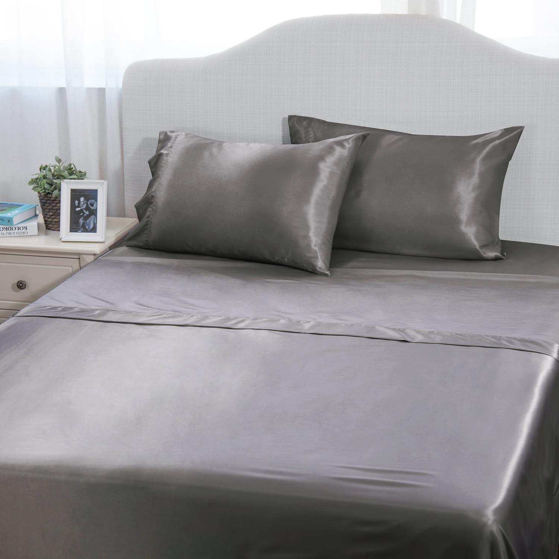 Satin Charmeuse Sheet Set King Size Soft Silk Feel Bedding Luxury Black 4 Pcs US