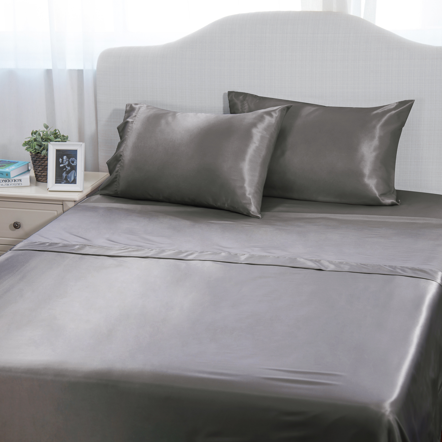TC Fitted Sheet All Size /& Deep Pocket Dark Grey Solid 100 Percent Cotton High