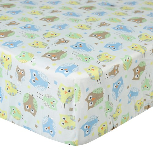 Laugh, Giggle & Smile Mod Owls Fitted Crib Sheet