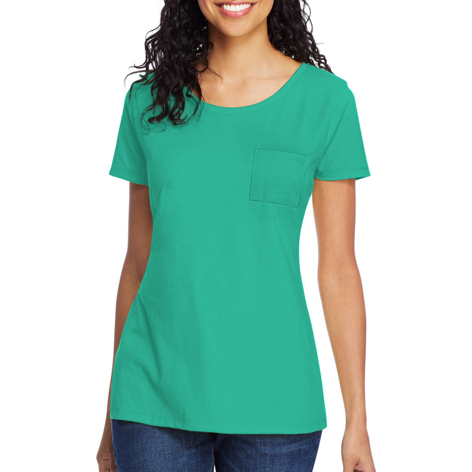 Hanes Women's Lightweight Short Sleeve Scoopneck Pocket T-Shirt
