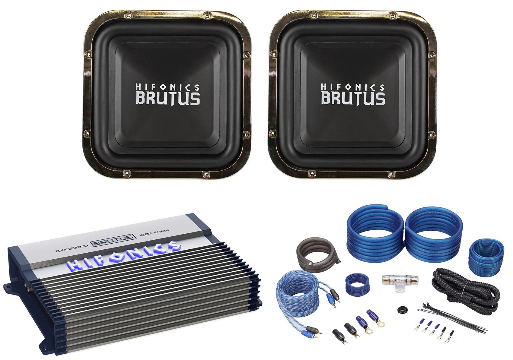 """2 Hifonics BRZ12SQD4 12/"""" 2400 Watt Dual 4-Ohm Car Audio Square Subwoofers"""