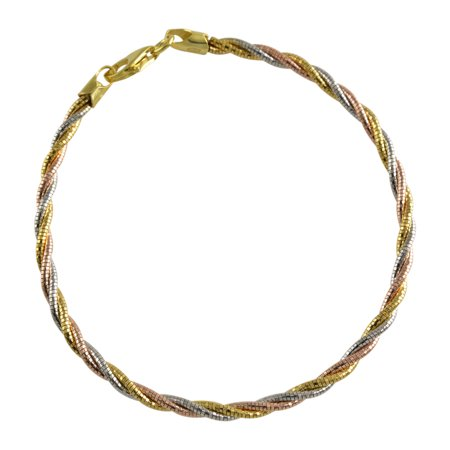 Tri Color Sterling Silver Spring Twist Omega 3 Lines 3mm Bracelet Italian Gold Rose Rhodium