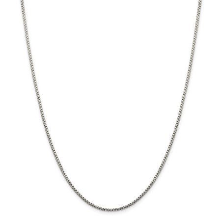 Jewelryweb Sterling Silver Box - Sterling Silver 1.75mm Half Round Sparkle-Cut Fancy Box Chain Necklace - Length: 16 to 30