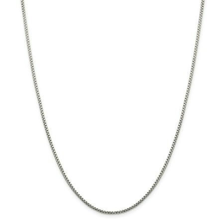 Fancy Glass Necklaces (Sterling Silver 1.75mm Half Round Sparkle-Cut Fancy Box Chain Necklace - Length: 16 to 30 )