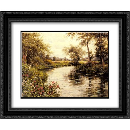 Louis Aston Knight 2x Matted 24x20 Black Ornate Framed Art Print 'Flowers in Bloom by a River'](Knights In Black Satin)
