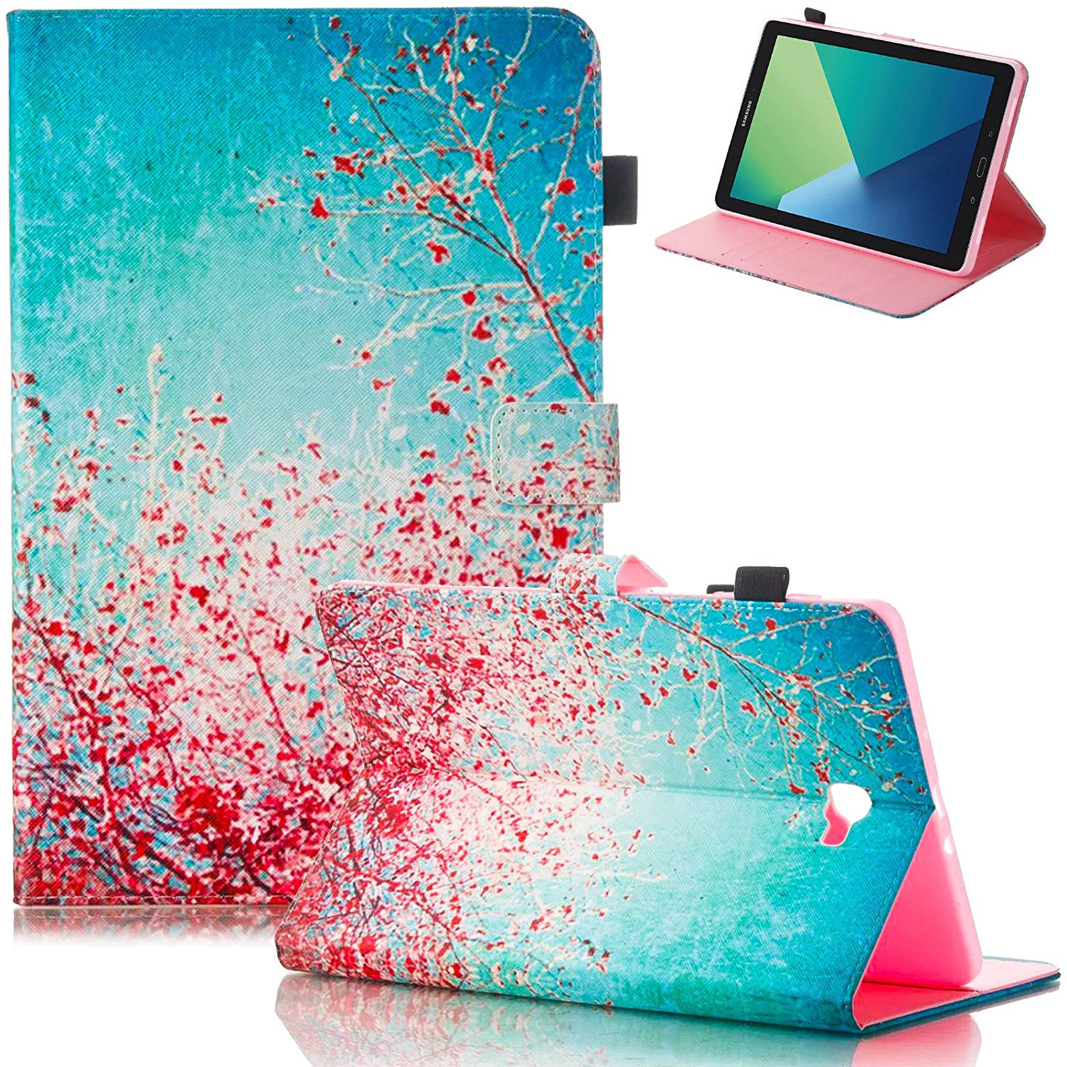 """Galaxy Tab A with S Pen 10.1"""" Case, SM-P580/ SM-P585 Case, Goodest PU Leather Folio Folding Stand Cover with Auto Wake Sleep for Samsung Galaxy Tab A 10.1-inch with S Pen Tablet, Blossom"""
