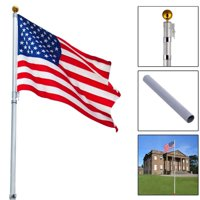 Ktaxon Outdoor 20ft Aluminum Sectional Flagpole Kit Halyard Pole + 2PC US American Flag,Garden
