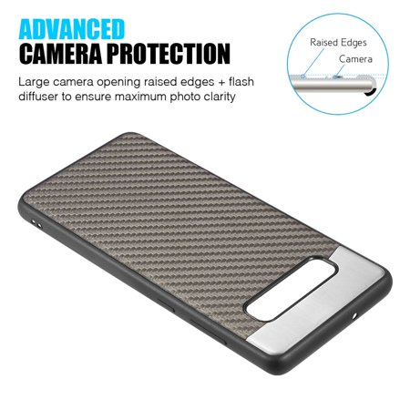 Samsung Galaxy S10 Case, by Insten Carbon Metallic Fusion TPU Rubber Candy Skin Case Cover For Samsung Galaxy S10, Gray - image 2 de 6
