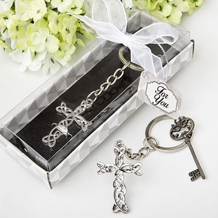 48 Delicate Intertwined metal cross key chain from fashioncraft - Cross Key Chains