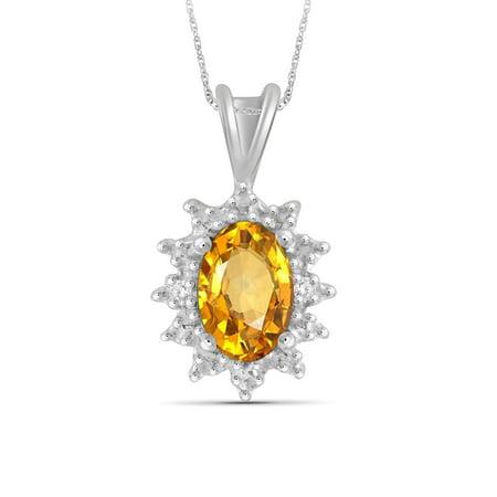Citrine Accents (1/2 Carat T.G.W. Citrine And White Diamond Accent Sterling Silver Pendant)