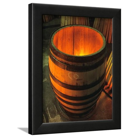 Toasting a New Oak Wine Barrel at the Demptos Cooperage, Napa Valley, California, USA Framed Print Wall Art By John Alves