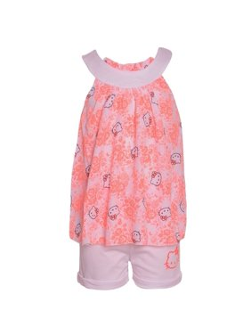 6d089bb17 Product Image Hello Kitty Little Girls Coral Flower Print Round Neck 2 Pc  Shorts Set