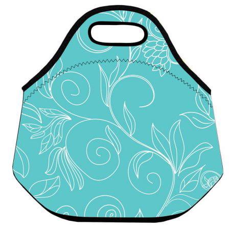 Wendana Modern Flower Pattern Lunch Bag For Women Handbag lunch box Food Container,Waterproof Neoprene Portable Lunch (Norprene Food)