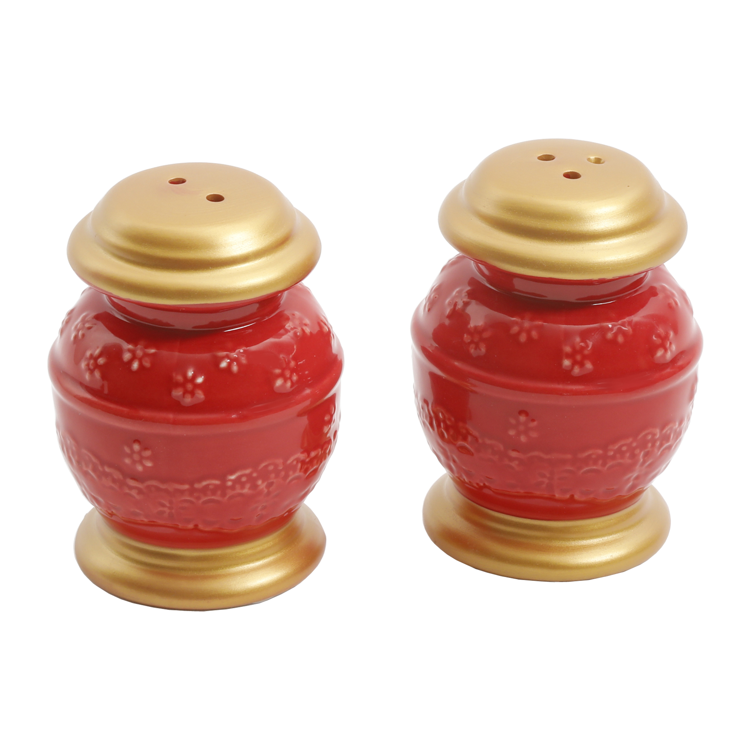 The Pioneer Woman Holiday Red Salt And Pepper Er Dish Set