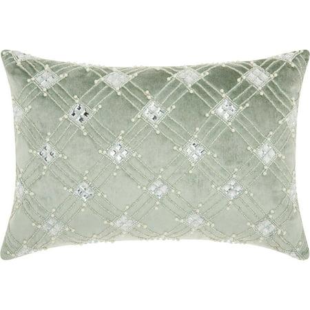 Nourison Couture Luster Diamond Lattice Celadon Throw Pillow