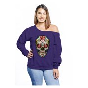 Awkward Styles Off Shoulder Sugar Skull Roses Sweatshirt Curvy Plus Sweater for Women Sugar Skull Oversized Sweatshirt for Curvy Women Casual Loose Fit Sweater Day of the Dead Clothing Plus Size