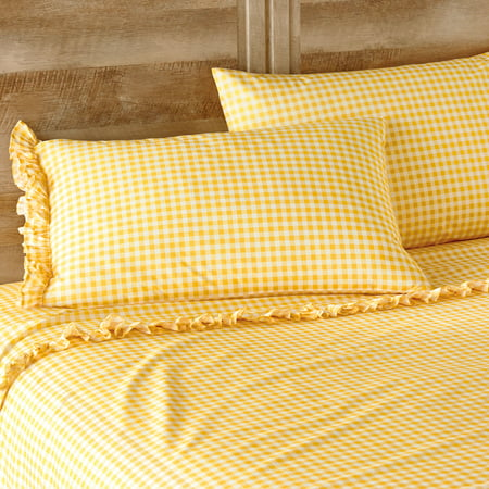 The Pioneer Woman Gingham Yellow Ruffle Full Sheet (King Size Bed Sheet And Comforter Sets)