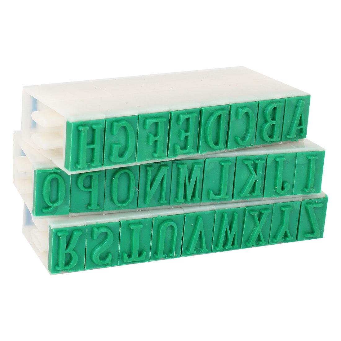 Unique Bargains 26 Letters Plastic Rubber Detachable Alphabet Stamp Educational Students Stationery White Green