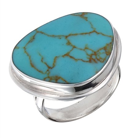 Large Solitaire Simulated Turquoise Polished Ring New .925 Sterling Silver Band Size 6