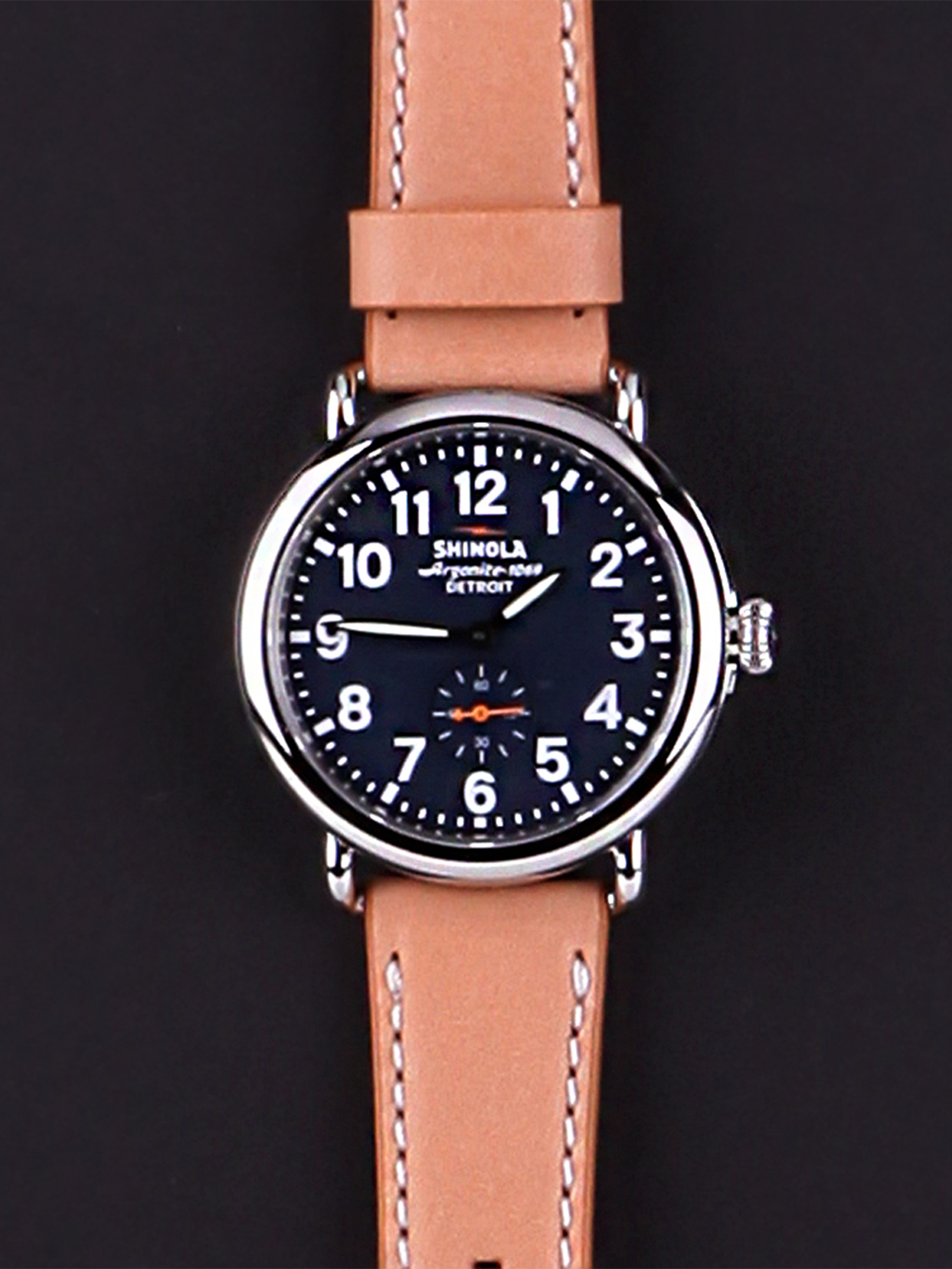 Shinola Detroit Men's The Runwell 47mm Watch S0110000141 Midnight Blue/Natural