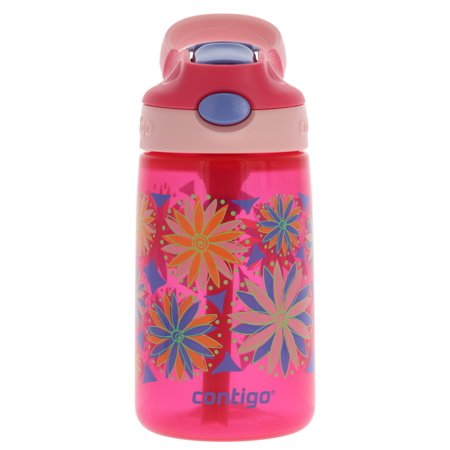 Contigo AUTOSPOUT Kids Gizmo Flip Water Bottle, 14oz Sprinkles Flowers Graphic – Leak & Spill Proof Bottles for Home or Travel – Easy-Clean, Dishwasher Safe – Press Button For Pop Up Straw