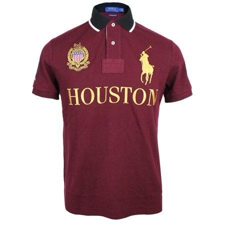 Polo Ralph Lauren Mens Custom Slim Fit Pony Logo Houston 3 Crest Embroidered Polo Shirt Burgundy Red