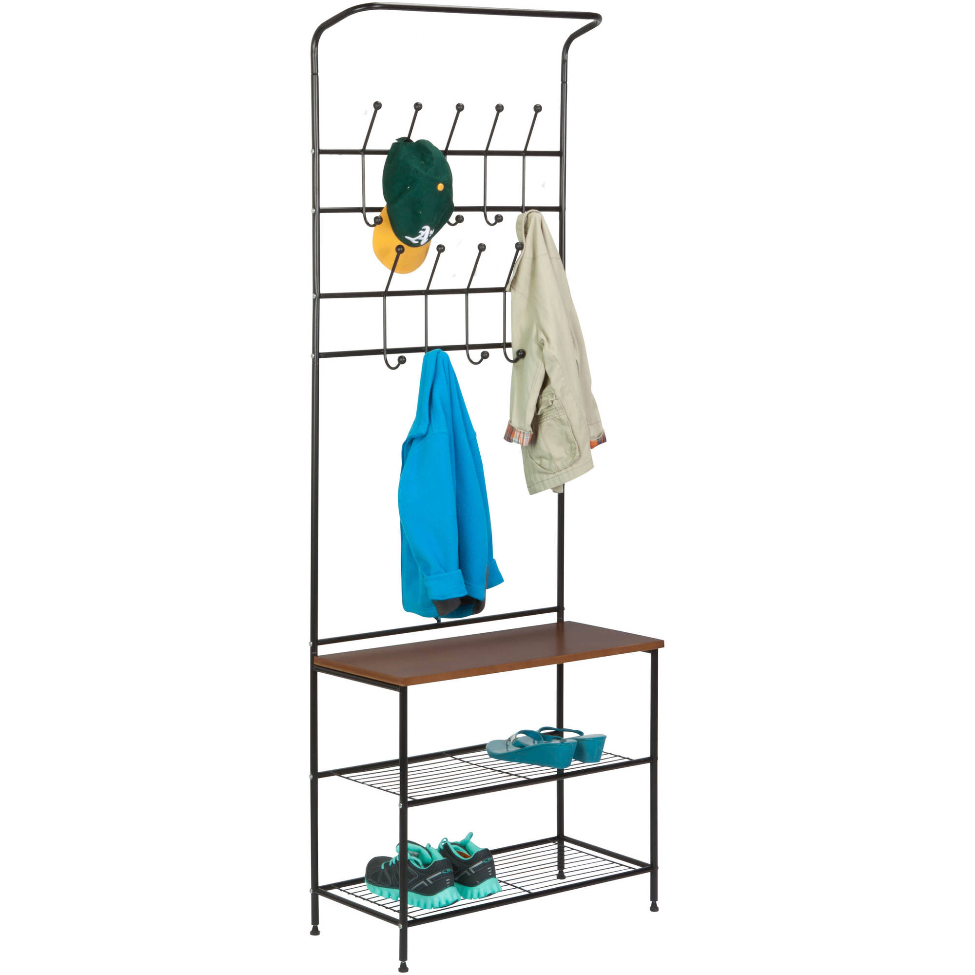 Honey Can Do Entryway Storage Valet With Coat Hanger And Shelves, Black