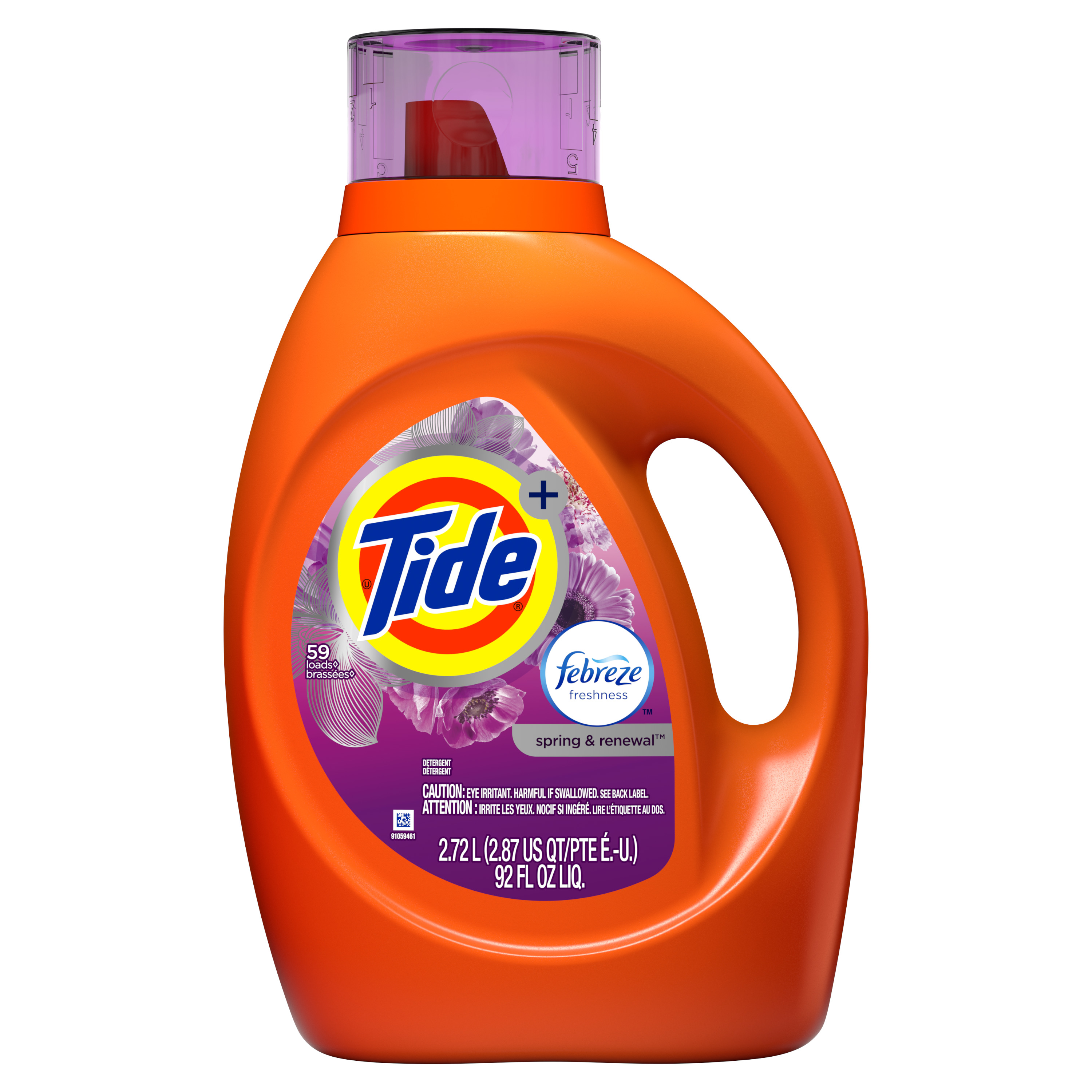 Tide plus Febreze Freshness Spring And Renewal Scent HE Turbo Clean Liquid Laundry Detergent, 92 oz, 59 loads