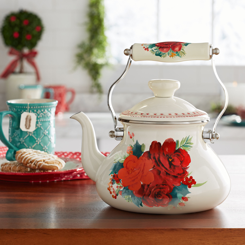 The Pioneer Woman Tea Kettle, Cheerful Rose, 1.9 Quarts ...