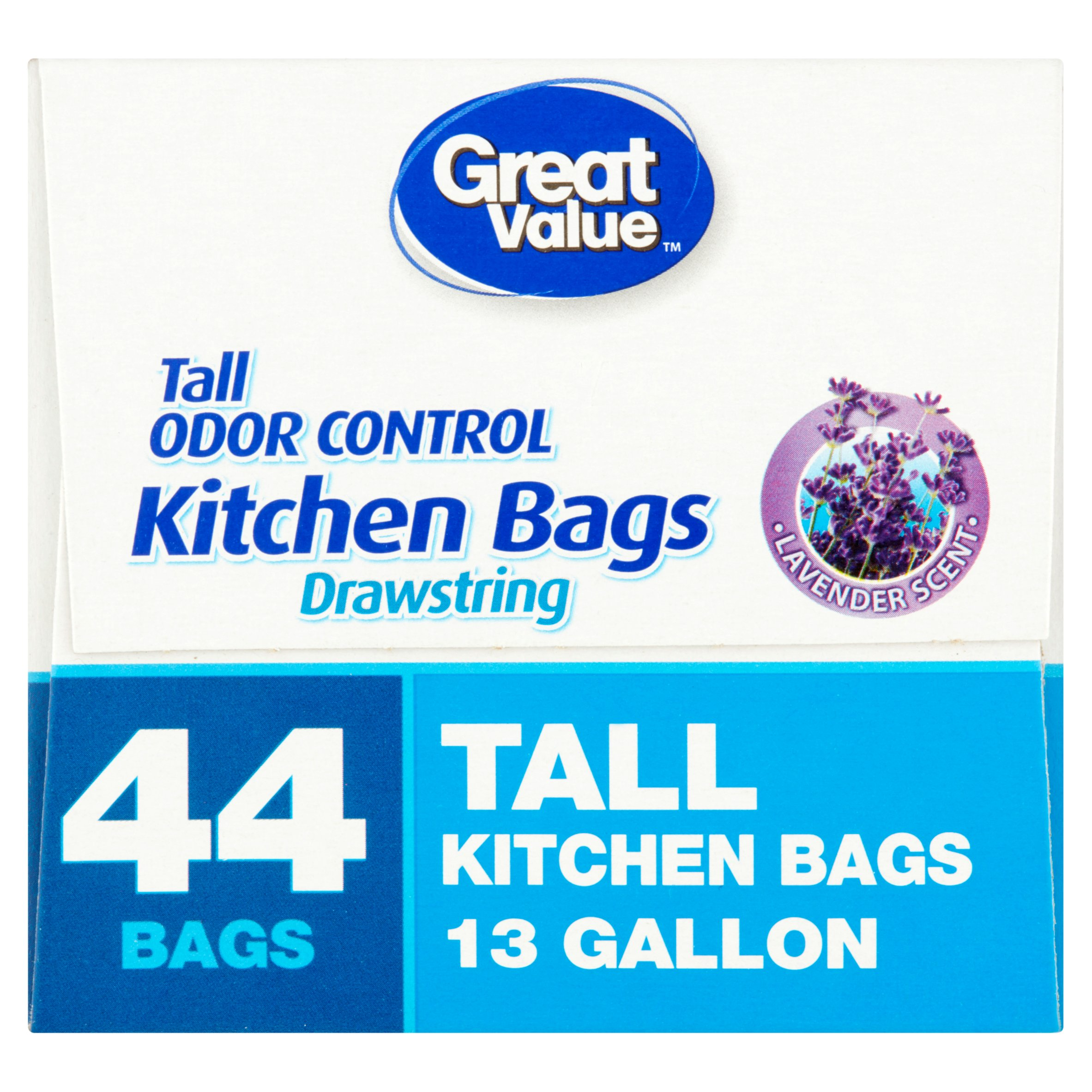 Great Value Lavender Scent Drawstring 13 Gallon Tall Kitchen Trash ...