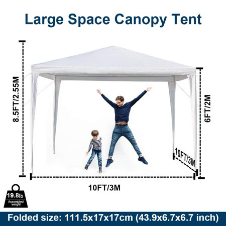 Clearance! Gazebo Canopy Shelter Tent for Outdoor, 10'x10' Instant Folding EZ Pop up Canopy Tent w/4 Removable Sidewalls, Waterproof Sun Shade UV Protection Patio Gazebo Shed, Bonus Carry Bag, (Proof Shades)