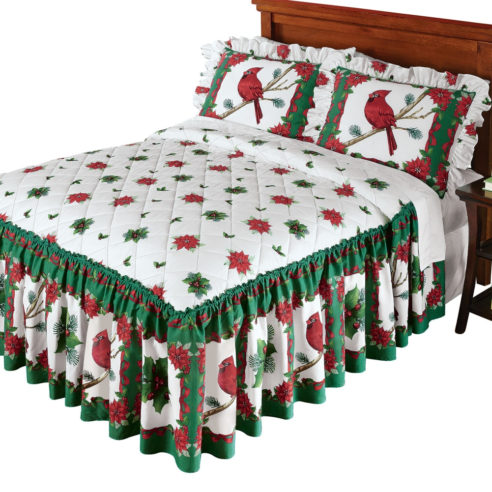 Festive Cardinal Holiday Ruffled Lightweight Bedspread, Full, Multi by Collections Etc