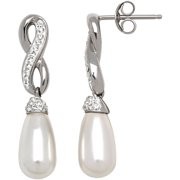 Simulated Pearl with Swarovski Elements Sterling Silver Drop Earrings