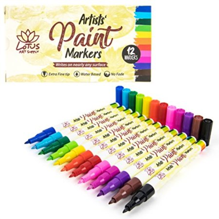 Lotus Art Supply Fine Point Paint Pens For Fabric Automotive Leather Car Model Painting Craft Plastic Glass Kids Acry