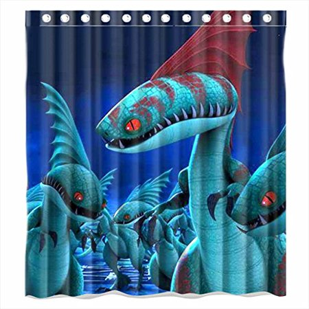 DEYOU Dragons How To Train Your Dragon Shower Curtain Polyester Fabric Bathroom Size 66x72