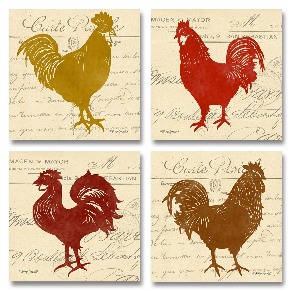 Vintage Postcard Tuscan Roosters; Perfect for the Kitchen; Four 12x12in Fine Art Prints