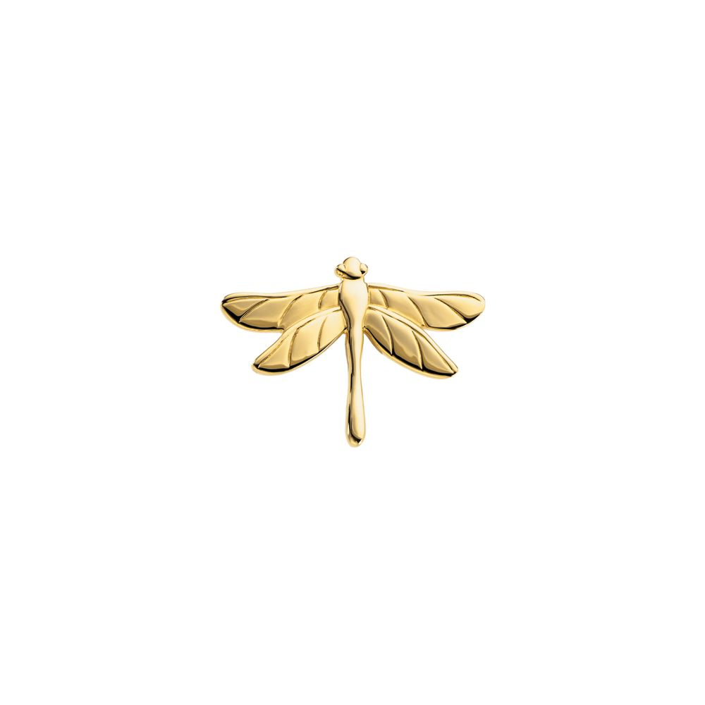 14k White Gold 31.75X23.00mm The Dragonfly Polished Brooch by