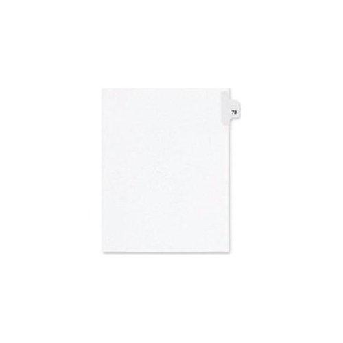 "Kleer-Fax Numeric Laminated Tab Index Dividers - Printed Tab(s) - Digit - 78 - 25 Tab(s)/Set - 8.5"" Divider Width x 11"" Divider Length - Letter - White Divider - 25 / Pack"