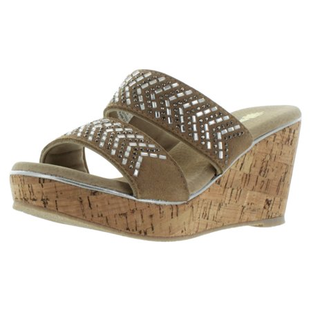 Volatile Jorie Beaded Women's Cork Wedge Slide Sandals](Beaded Sandals)