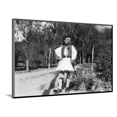 A Greek Soldier in Traditional Uniform, C1920s-C1930s Wood Mounted Print Wall Art (Mountie Uniform)
