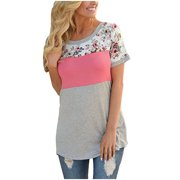 Women Short Sleeve Floral Print Casual T-shirt Cotton Patchwork Tee