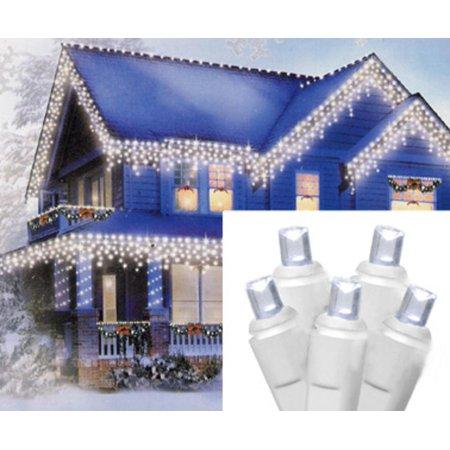 Set of 70 Cool White LED Wide Angle Icicle Christmas Lights ...