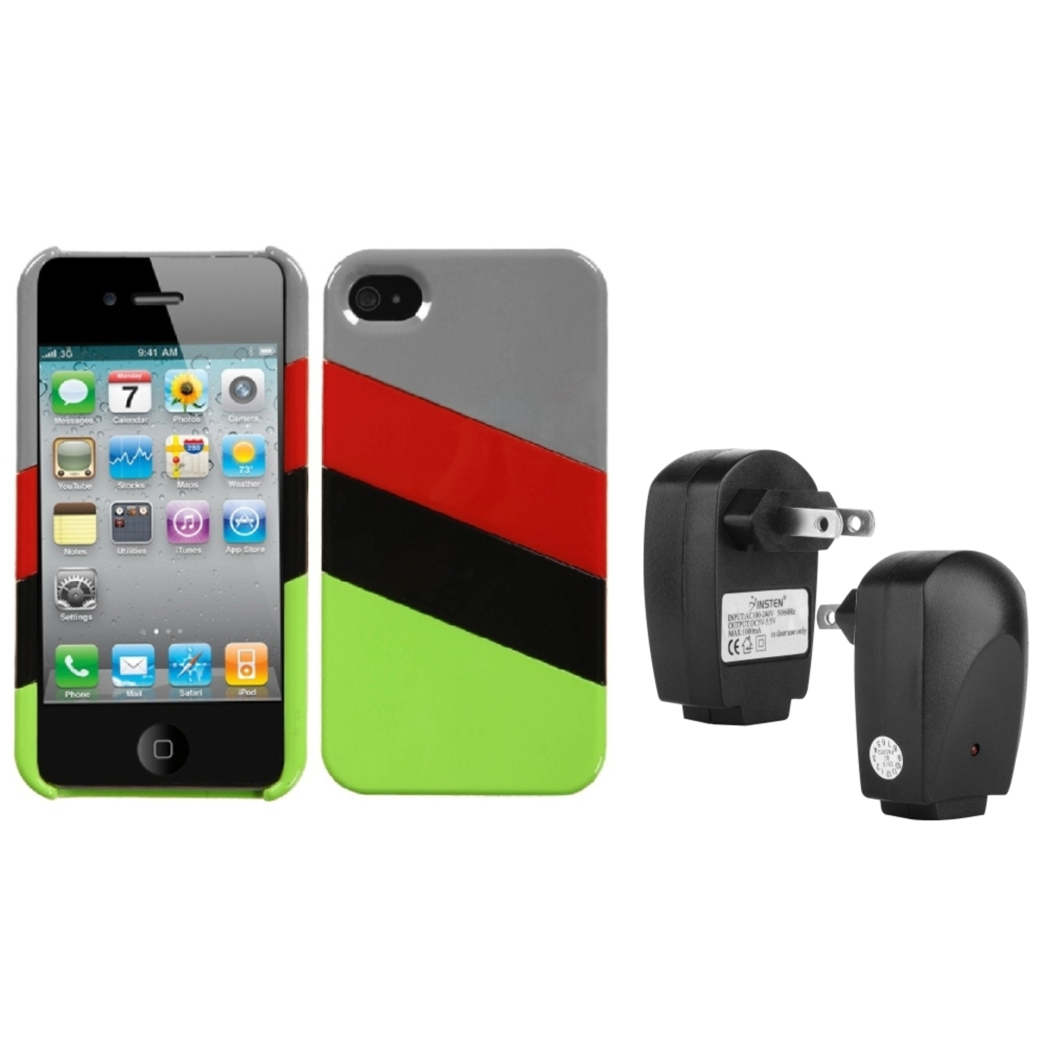 Insten MyColor Splash Case (009) (with Package) For iPhone 4/4S+USB Travel Charger