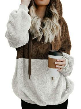 a4bbdc8586c Product Image 711ONLINESTORE Women Fuzzy Fleece Drawstring Zipped Front Long  Sleeve Hoodies Outwear