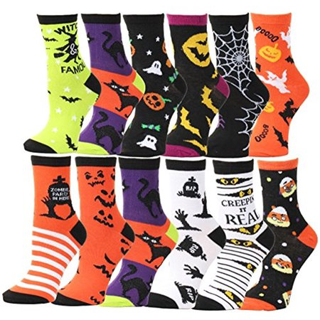 Halloween Socks Women (12 Pair,Happy Halloween Socks, 12 Different Designs, Halloween Gift,Women Size (Knee High Socks,)