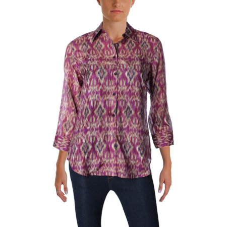 Silk Blend Camp Shirt - Lauren Ralph Lauren Womens Silk Blend Printed Button-Down Top